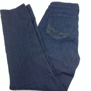 NYDJ Womens 12 Skinny Jeans Pants Dark Wash